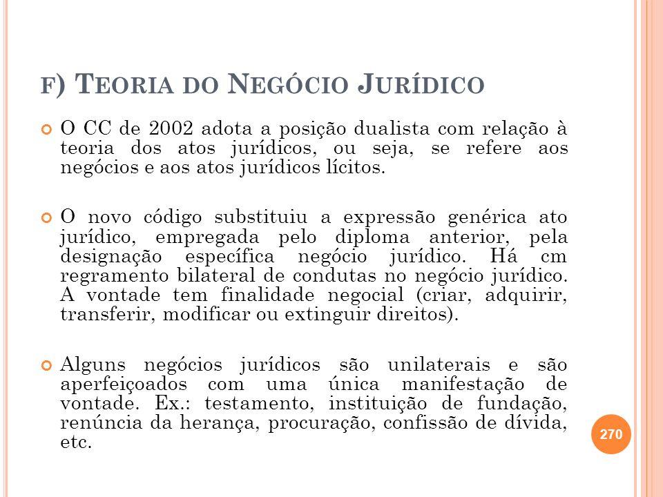 F ) T EORIA DO N EGÓCIO J URÍDICO O CC de 2002 adota a posição dualista com relação à teoria dos atos jurídicos, ou seja, se refere aos negócios e aos