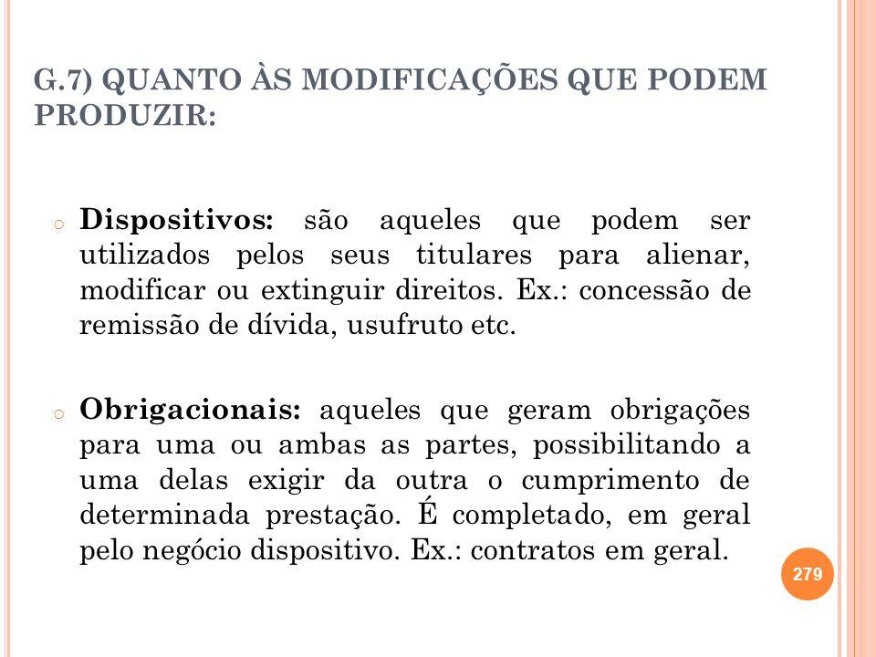 G.7) QUANTO ÀS MODIFICAÇÕES QUE PODEM PRODUZIR: o Dispositivos: são aqueles que podem ser utilizados pelos seus titulares para alienar, modificar ou e