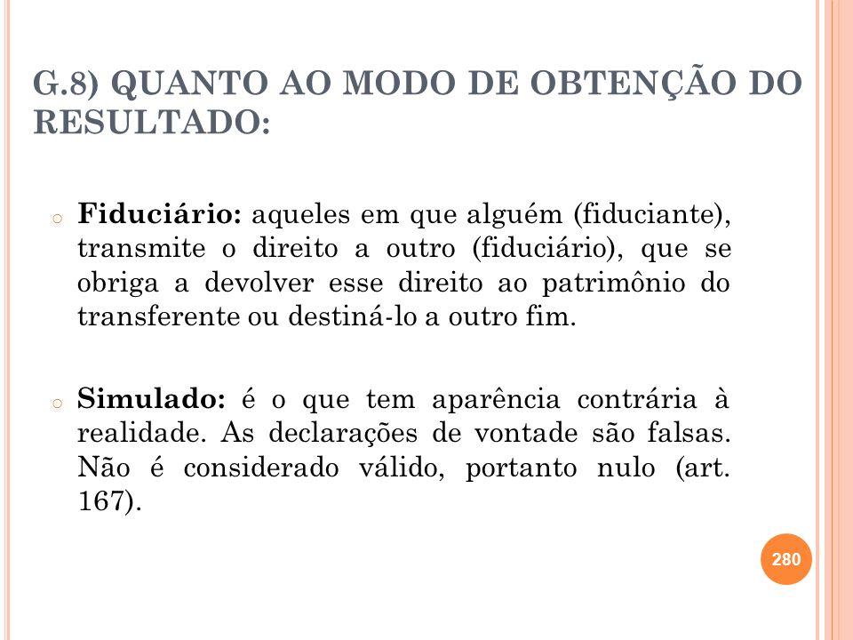 G.8) QUANTO AO MODO DE OBTENÇÃO DO RESULTADO: o Fiduciário: aqueles em que alguém (fiduciante), transmite o direito a outro (fiduciário), que se obrig