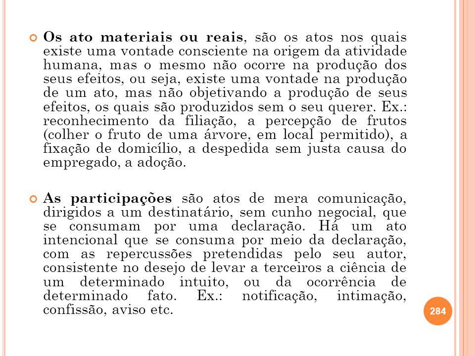 Os ato materiais ou reais, são os atos nos quais existe uma vontade consciente na origem da atividade humana, mas o mesmo não ocorre na produção dos s