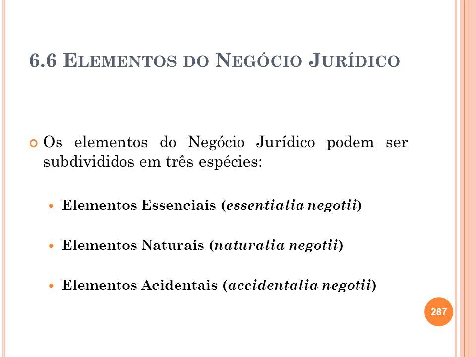 6.6 E LEMENTOS DO N EGÓCIO J URÍDICO Os elementos do Negócio Jurídico podem ser subdivididos em três espécies: Elementos Essenciais ( essentialia nego
