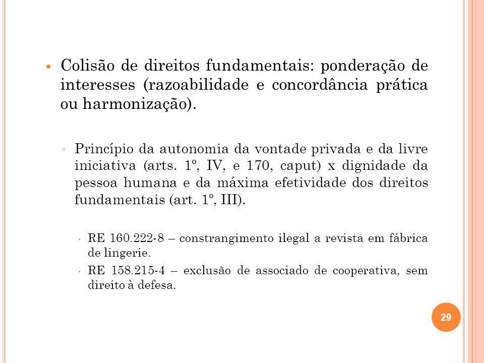 Colisão de direitos fundamentais: ponderação de interesses (razoabilidade e concordância prática ou harmonização). Princípio da autonomia da vontade p