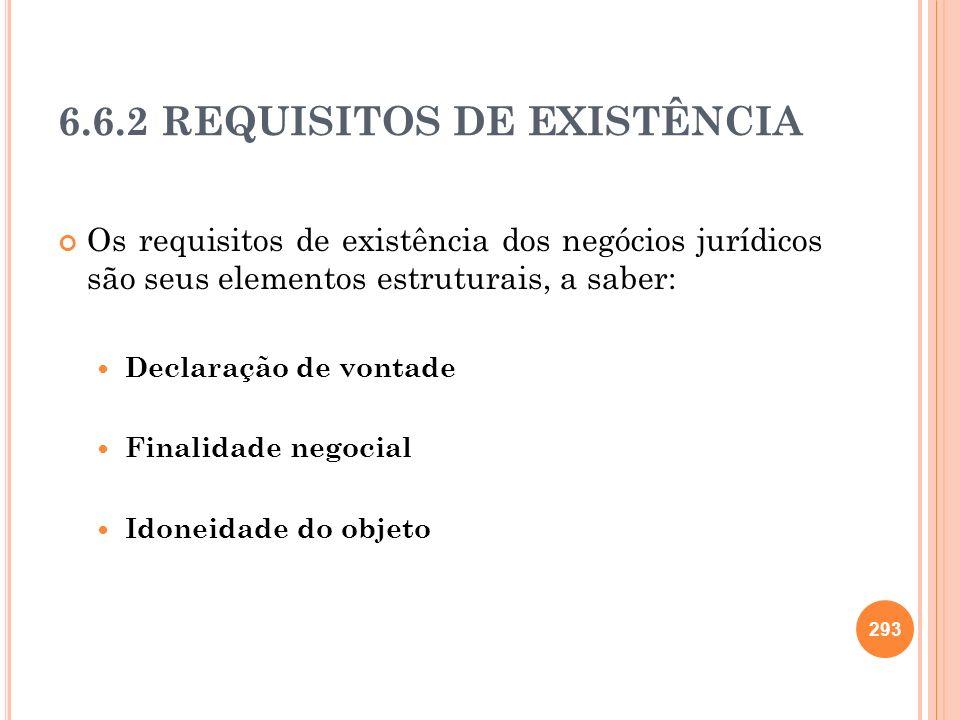 6.6.2 REQUISITOS DE EXISTÊNCIA Os requisitos de existência dos negócios jurídicos são seus elementos estruturais, a saber: Declaração de vontade Final