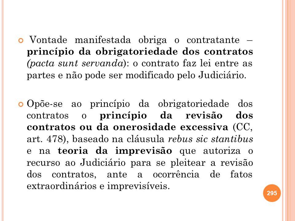 Vontade manifestada obriga o contratante – princípio da obrigatoriedade dos contratos (pacta sunt servanda ): o contrato faz lei entre as partes e não