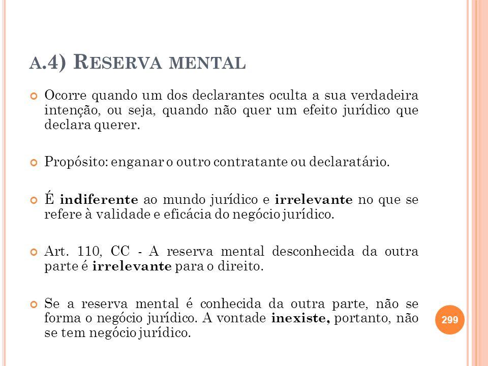 A.4) R ESERVA MENTAL Ocorre quando um dos declarantes oculta a sua verdadeira intenção, ou seja, quando não quer um efeito jurídico que declara querer
