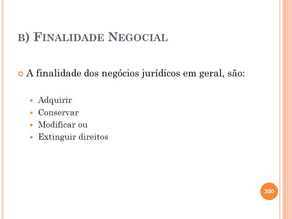 B ) F INALIDADE N EGOCIAL A finalidade dos negócios jurídicos em geral, são: Adquirir Conservar Modificar ou Extinguir direitos 300