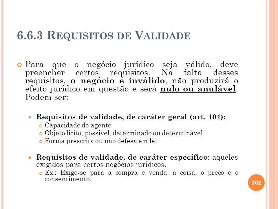 6.6.3 R EQUISITOS DE V ALIDADE Para que o negócio jurídico seja válido, deve preencher certos requisitos. Na falta desses requisitos, o negócio é invá