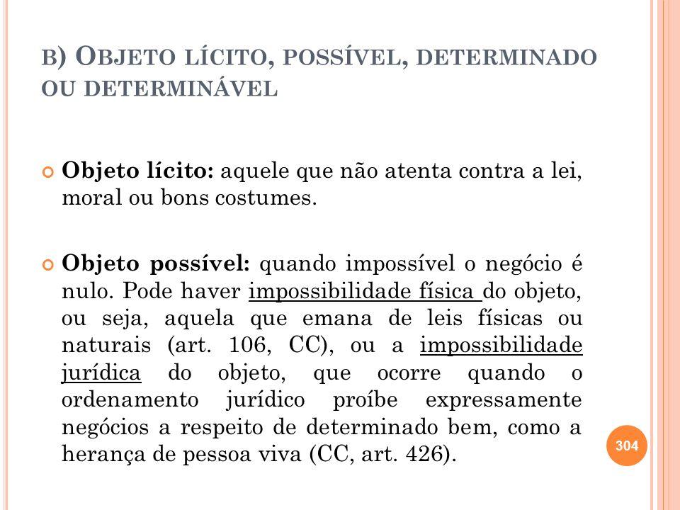 B ) O BJETO LÍCITO, POSSÍVEL, DETERMINADO OU DETERMINÁVEL Objeto lícito: aquele que não atenta contra a lei, moral ou bons costumes. Objeto possível:
