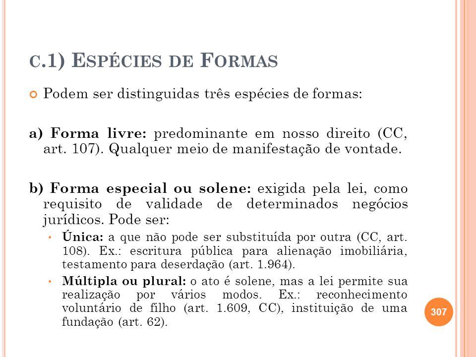 C.1) E SPÉCIES DE F ORMAS Podem ser distinguidas três espécies de formas: a) Forma livre: predominante em nosso direito (CC, art. 107). Qualquer meio