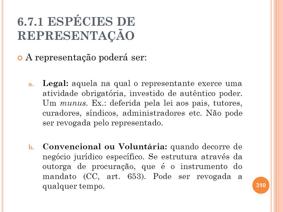 6.7.1 ESPÉCIES DE REPRESENTAÇÃO A representação poderá ser: a. Legal: aquela na qual o representante exerce uma atividade obrigatória, investido de au