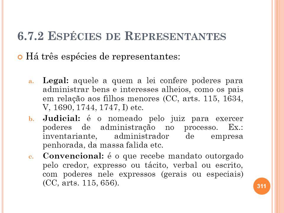 6.7.2 E SPÉCIES DE R EPRESENTANTES Há três espécies de representantes: a. Legal: aquele a quem a lei confere poderes para administrar bens e interesse