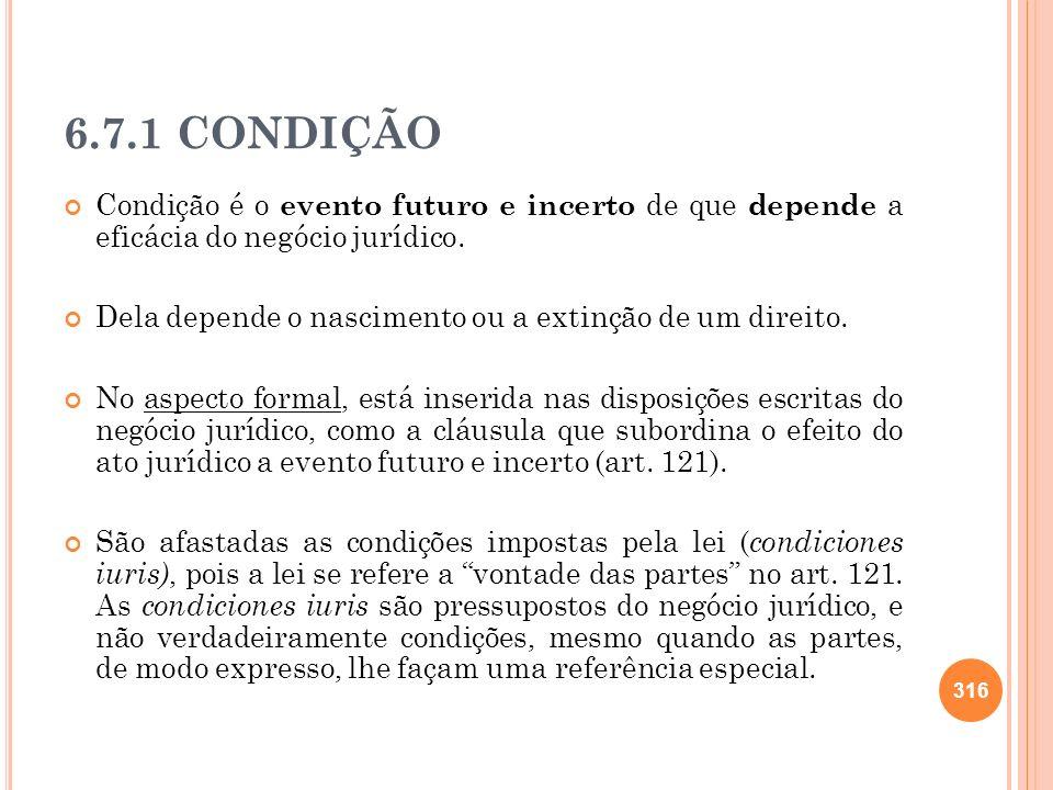6.7.1 CONDIÇÃO Condição é o evento futuro e incerto de que depende a eficácia do negócio jurídico. Dela depende o nascimento ou a extinção de um direi