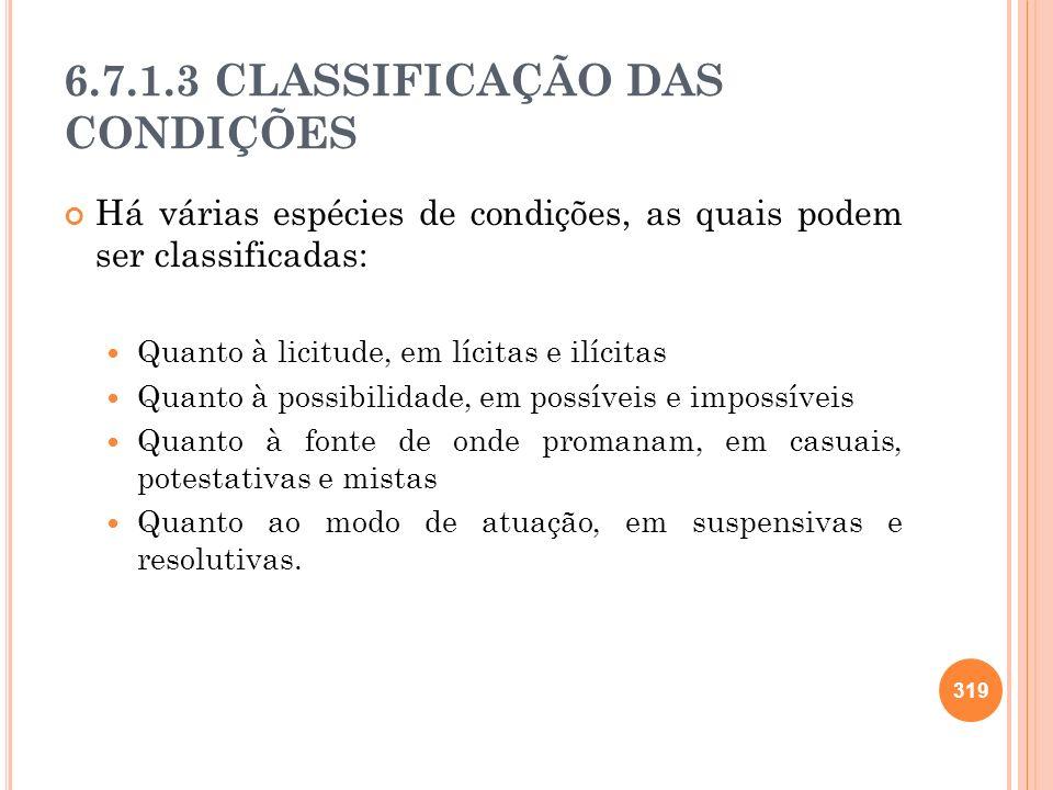 6.7.1.3 CLASSIFICAÇÃO DAS CONDIÇÕES Há várias espécies de condições, as quais podem ser classificadas: Quanto à licitude, em lícitas e ilícitas Quanto