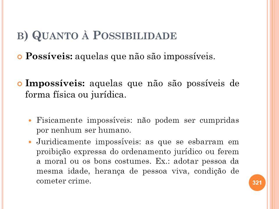 B ) Q UANTO À P OSSIBILIDADE Possíveis: aquelas que não são impossíveis. Impossíveis: aquelas que não são possíveis de forma física ou jurídica. Fisic