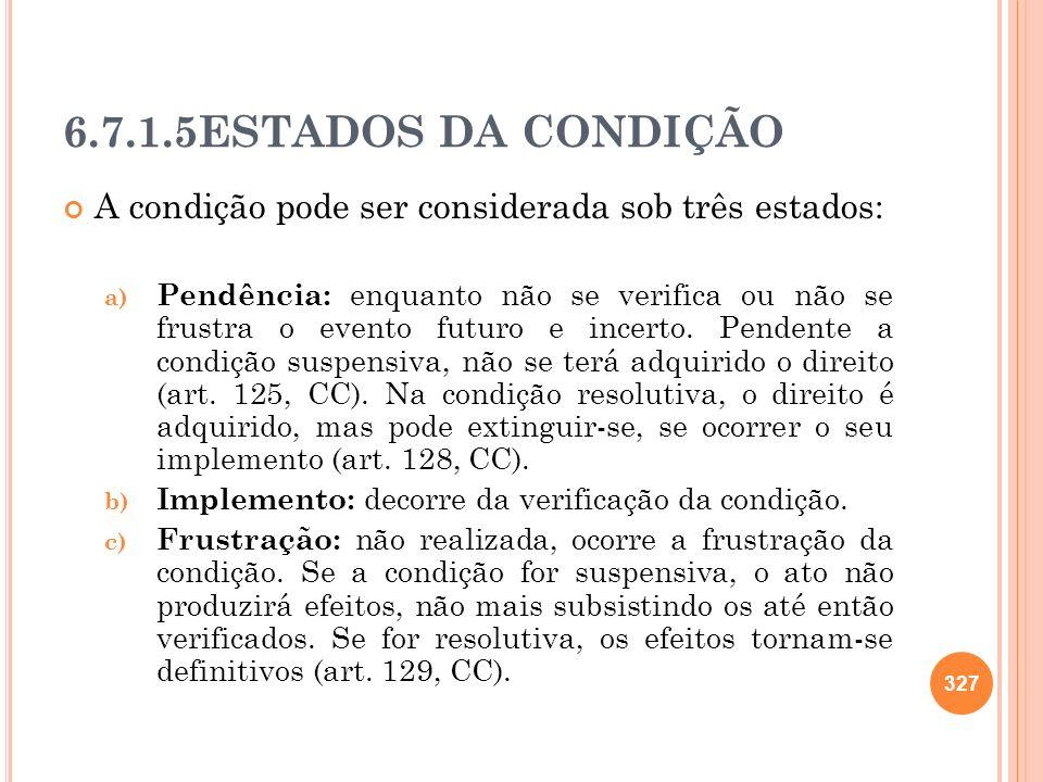 6.7.1.5ESTADOS DA CONDIÇÃO A condição pode ser considerada sob três estados: a) Pendência: enquanto não se verifica ou não se frustra o evento futuro