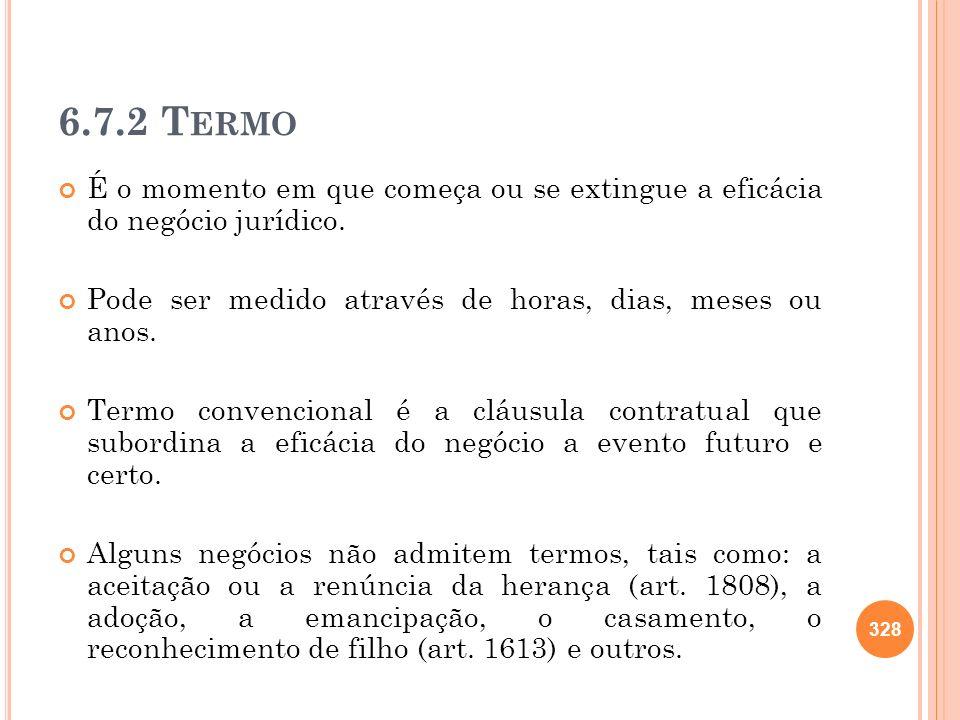 6.7.2 T ERMO É o momento em que começa ou se extingue a eficácia do negócio jurídico. Pode ser medido através de horas, dias, meses ou anos. Termo con
