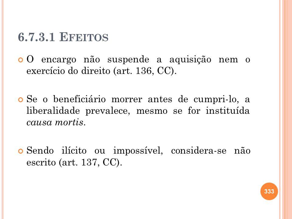 6.7.3.1 E FEITOS O encargo não suspende a aquisição nem o exercício do direito (art. 136, CC). Se o beneficiário morrer antes de cumpri-lo, a liberali