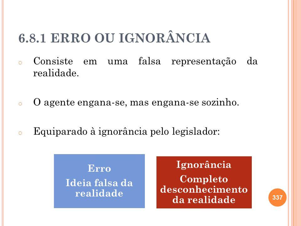 6.8.1 ERRO OU IGNORÂNCIA o Consiste em uma falsa representação da realidade. o O agente engana-se, mas engana-se sozinho. o Equiparado à ignorância pe