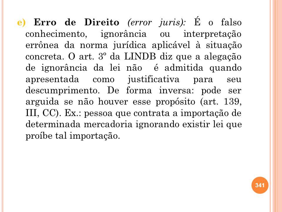 e) Erro de Direito (error juris): É o falso conhecimento, ignorância ou interpretação errônea da norma jurídica aplicável à situação concreta. O art.