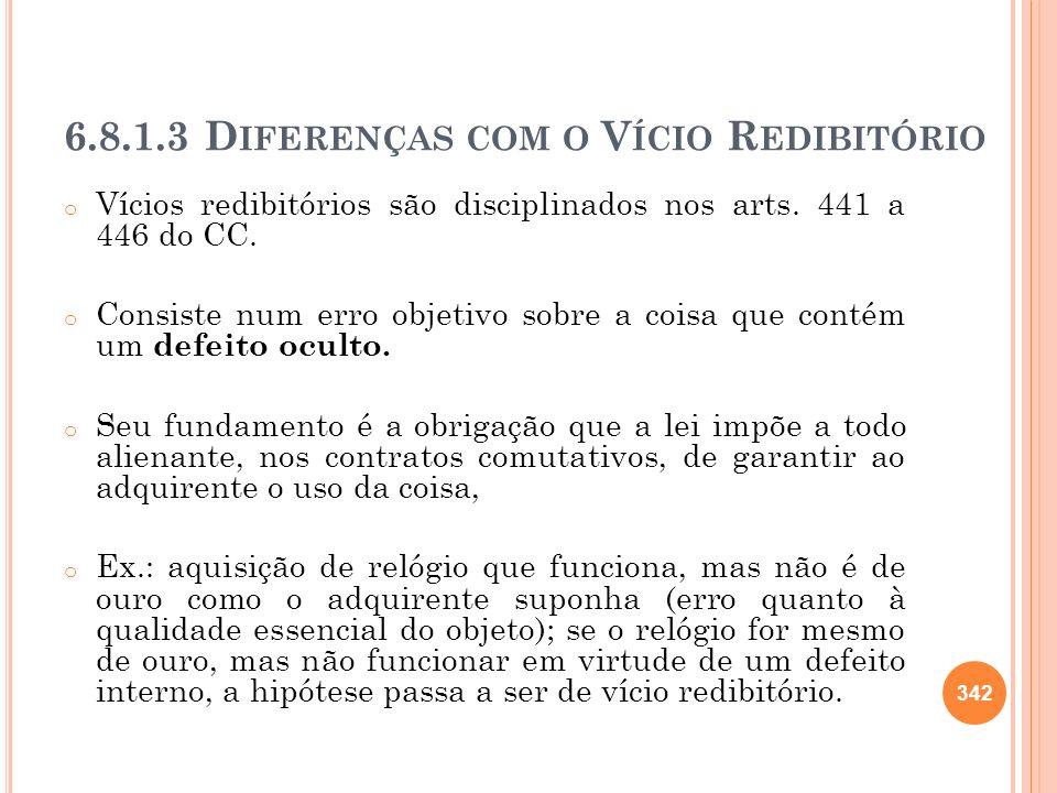 6.8.1.3 D IFERENÇAS COM O V ÍCIO R EDIBITÓRIO o Vícios redibitórios são disciplinados nos arts. 441 a 446 do CC. o Consiste num erro objetivo sobre a