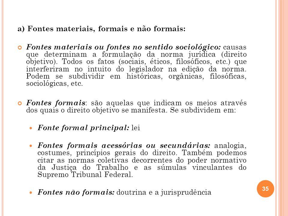 a) Fontes materiais, formais e não formais: Fontes materiais ou fontes no sentido sociológico: causas que determinam a formulação da norma jurídica (d