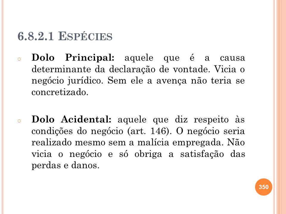 6.8.2.1 E SPÉCIES o Dolo Principal: aquele que é a causa determinante da declaração de vontade. Vicia o negócio jurídico. Sem ele a avença não teria s