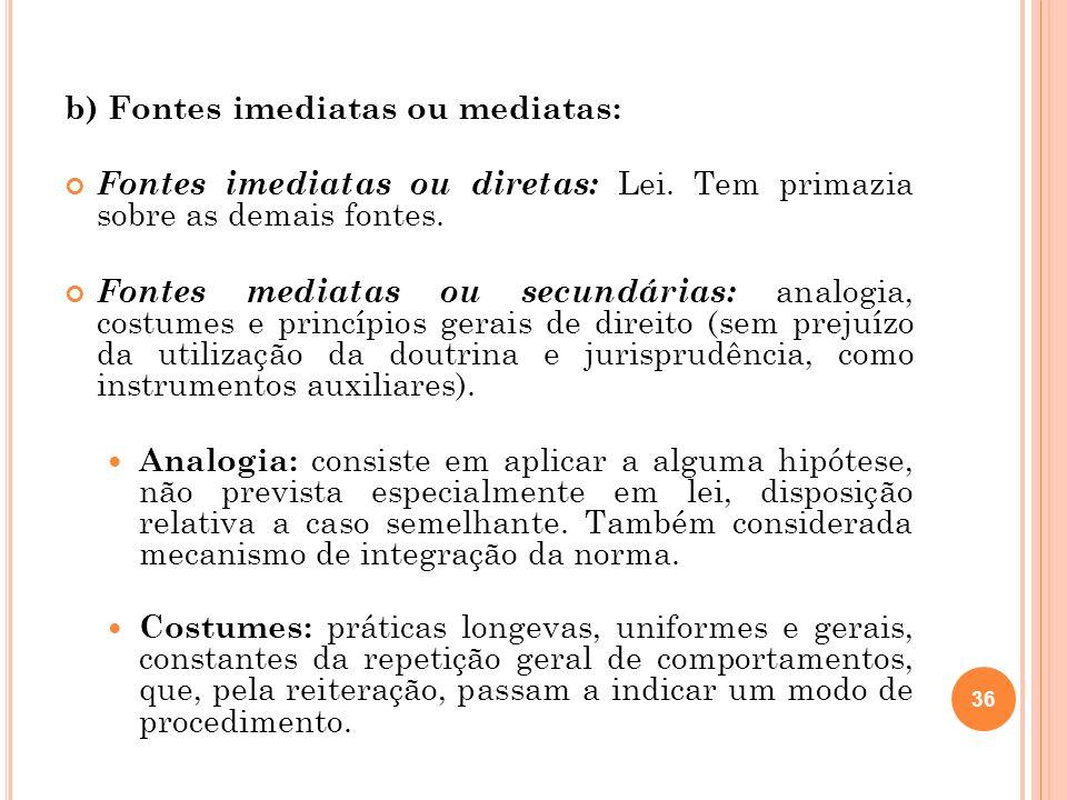 b) Fontes imediatas ou mediatas: Fontes imediatas ou diretas: Lei. Tem primazia sobre as demais fontes. Fontes mediatas ou secundárias: analogia, cost
