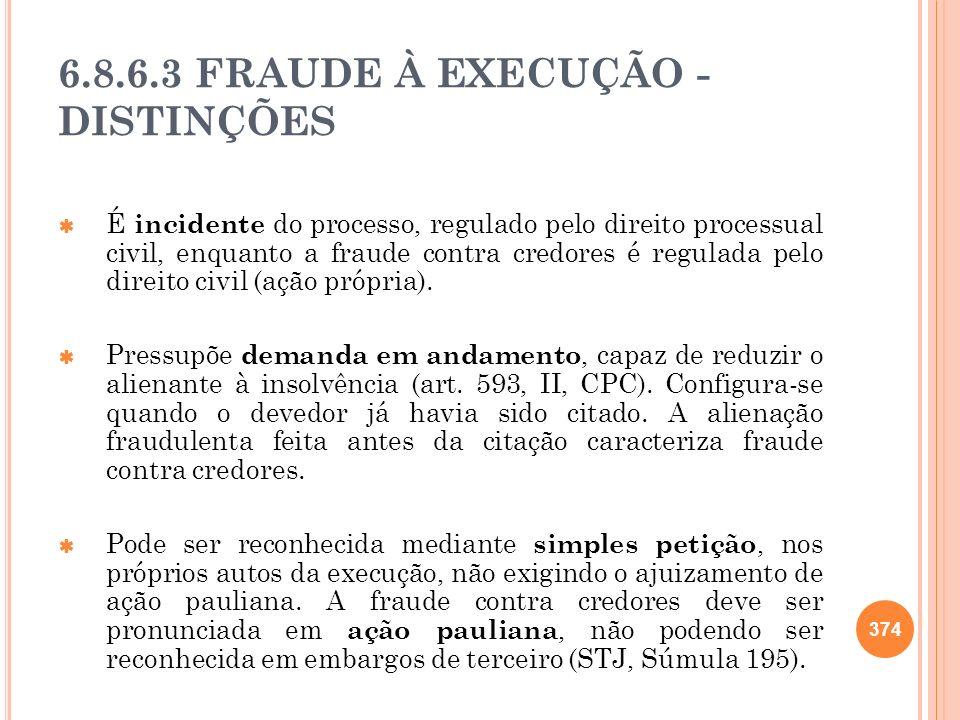 6.8.6.3 FRAUDE À EXECUÇÃO - DISTINÇÕES É incidente do processo, regulado pelo direito processual civil, enquanto a fraude contra credores é regulada p