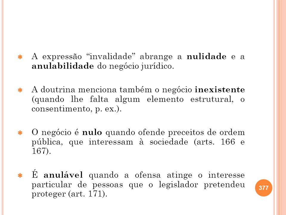 A expressão invalidade abrange a nulidade e a anulabilidade do negócio jurídico. A doutrina menciona também o negócio inexistente (quando lhe falta al