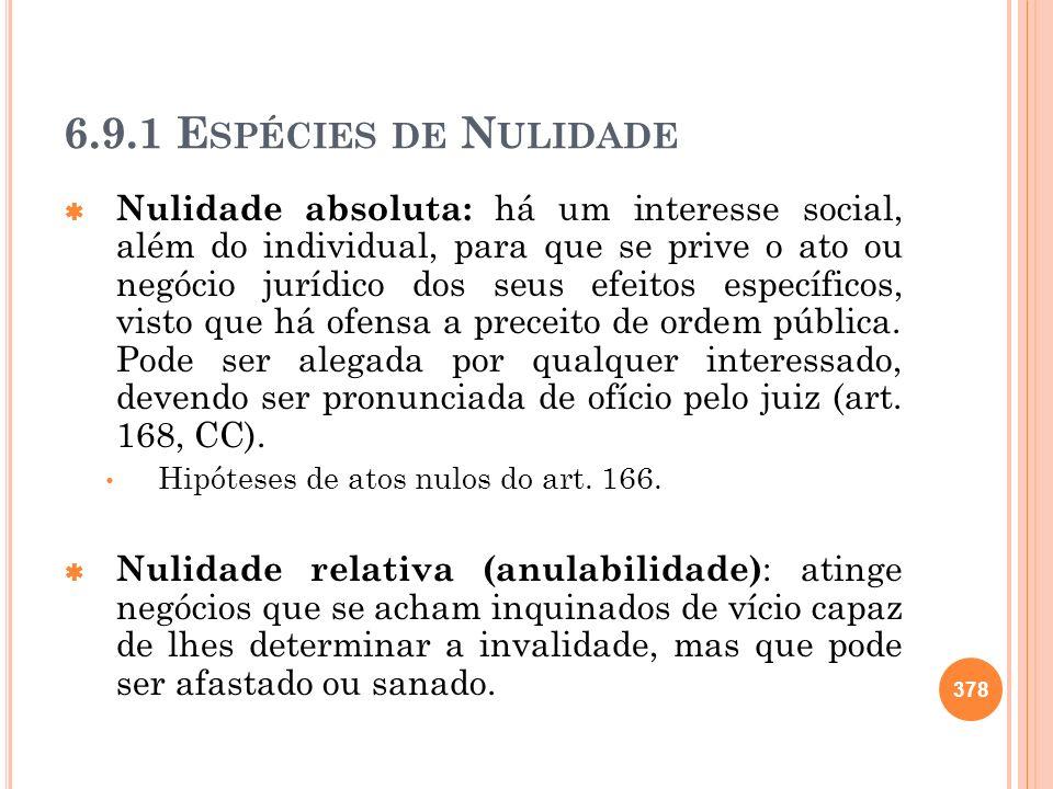 6.9.1 E SPÉCIES DE N ULIDADE Nulidade absoluta: há um interesse social, além do individual, para que se prive o ato ou negócio jurídico dos seus efeit