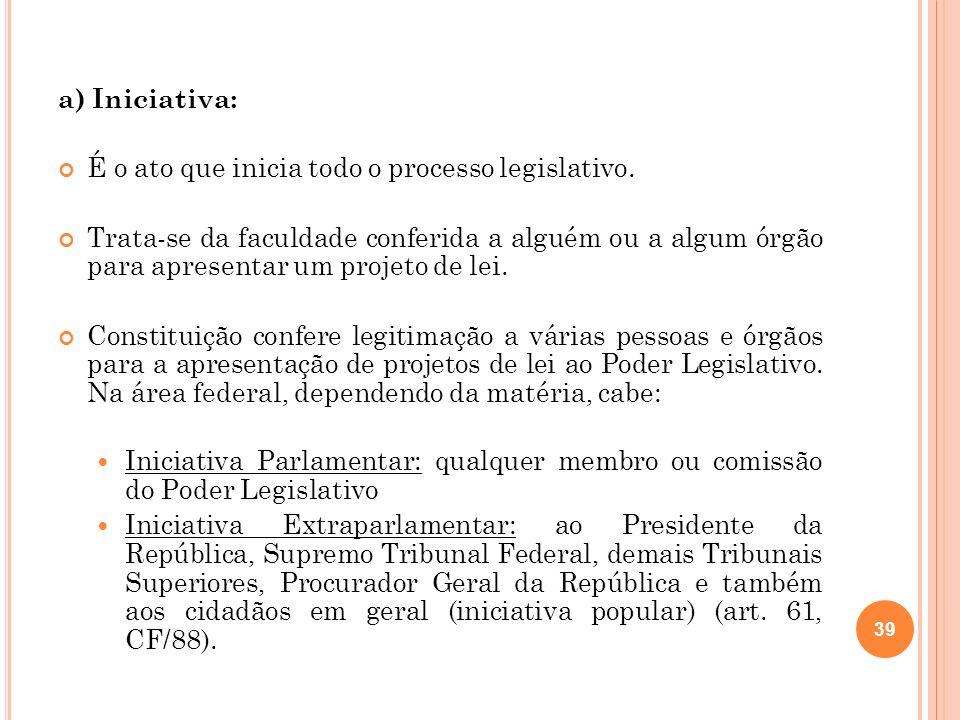 a) Iniciativa: É o ato que inicia todo o processo legislativo. Trata-se da faculdade conferida a alguém ou a algum órgão para apresentar um projeto de