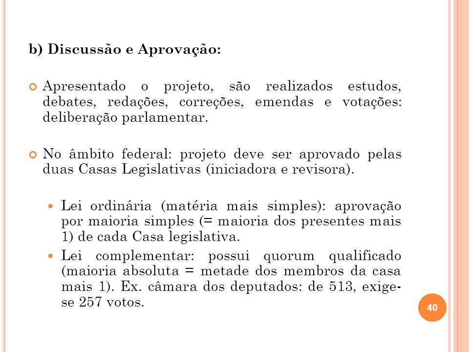 b) Discussão e Aprovação: Apresentado o projeto, são realizados estudos, debates, redações, correções, emendas e votações: deliberação parlamentar. No