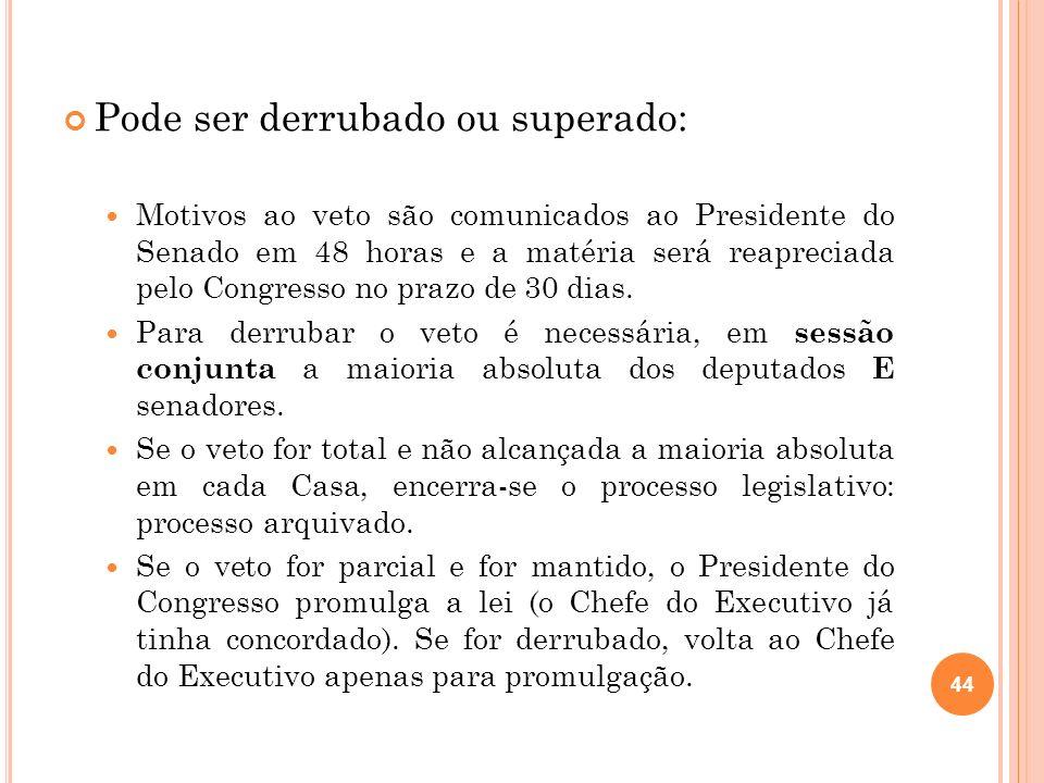 Pode ser derrubado ou superado: Motivos ao veto são comunicados ao Presidente do Senado em 48 horas e a matéria será reapreciada pelo Congresso no pra
