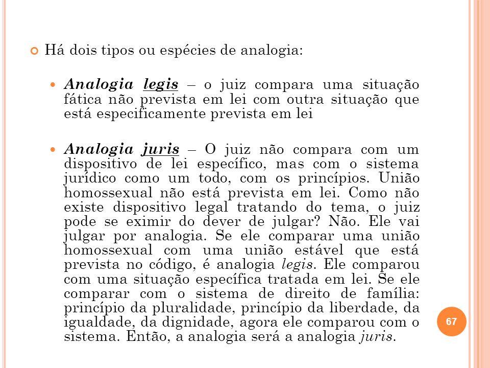 Há dois tipos ou espécies de analogia: Analogia legis – o juiz compara uma situação fática não prevista em lei com outra situação que está especificam