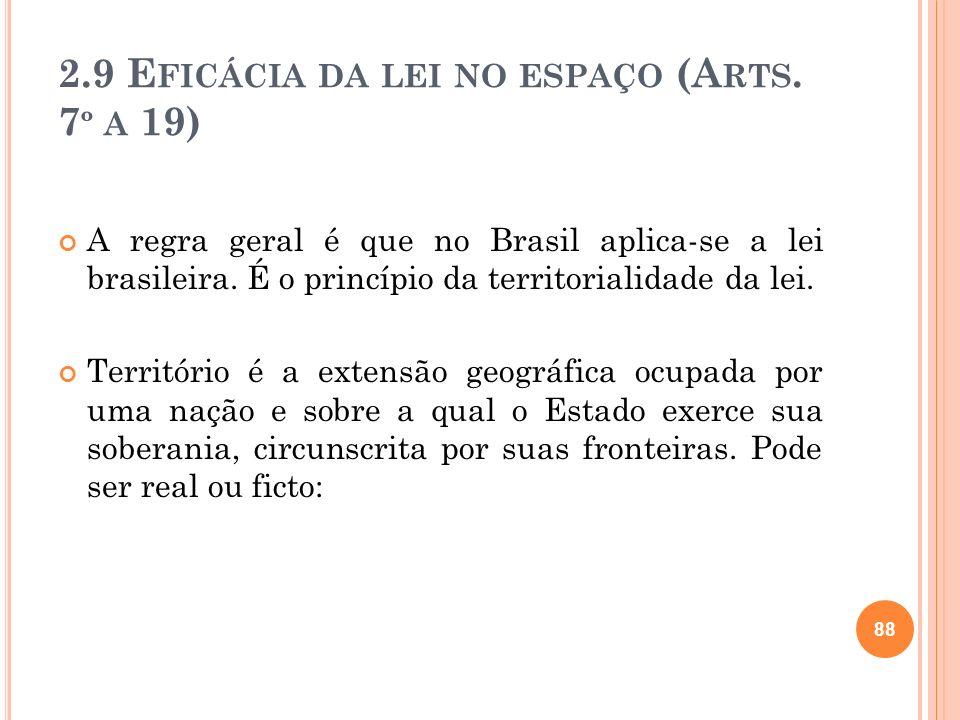 2.9 E FICÁCIA DA LEI NO ESPAÇO (A RTS. 7 º A 19) A regra geral é que no Brasil aplica-se a lei brasileira. É o princípio da territorialidade da lei. T