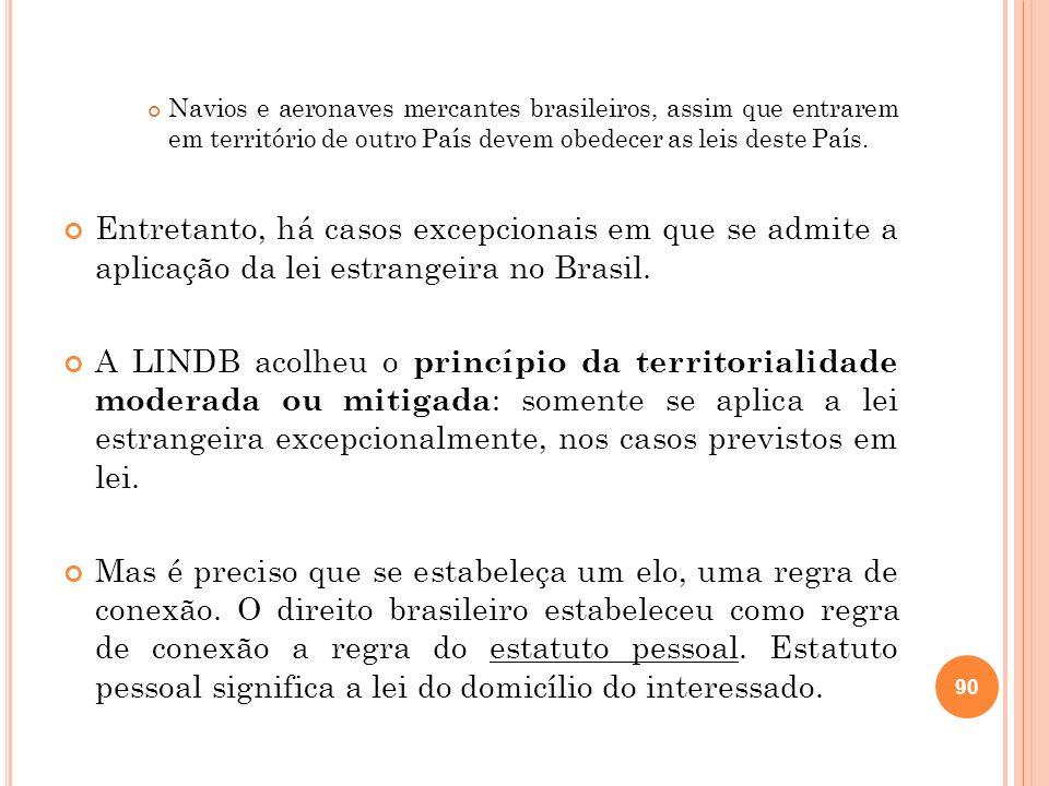 Navios e aeronaves mercantes brasileiros, assim que entrarem em território de outro País devem obedecer as leis deste País. Entretanto, há casos excep