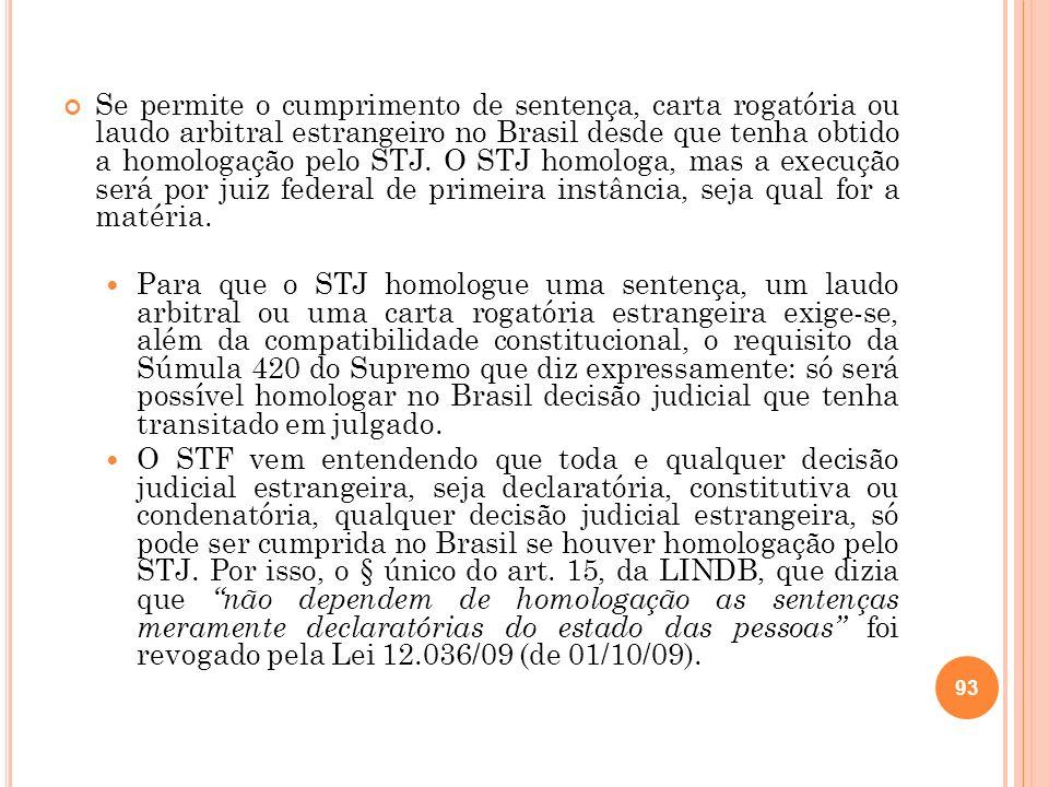 Se permite o cumprimento de sentença, carta rogatória ou laudo arbitral estrangeiro no Brasil desde que tenha obtido a homologação pelo STJ. O STJ hom