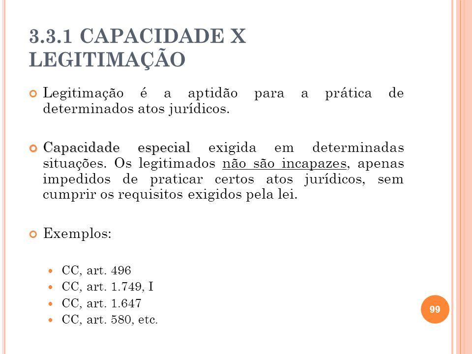 3.3.1 CAPACIDADE X LEGITIMAÇÃO Legitimação é a aptidão para a prática de determinados atos jurídicos. Capacidade especial Capacidade especial exigida