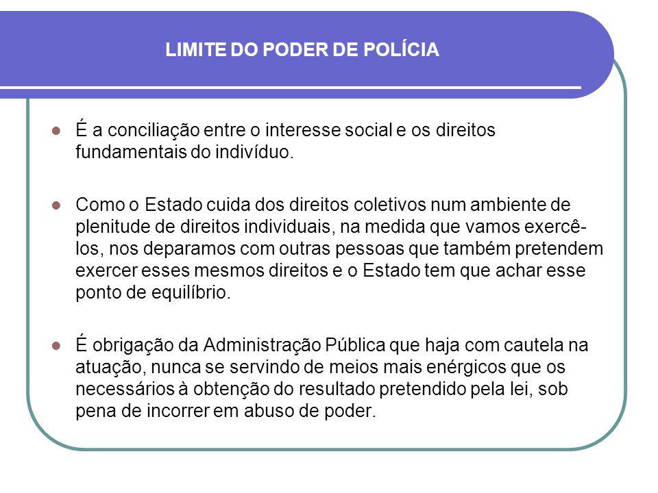 LIMITE DO PODER DE POLÍCIA É a conciliação entre o interesse social e os direitos fundamentais do indivíduo. Como o Estado cuida dos direitos coletivo