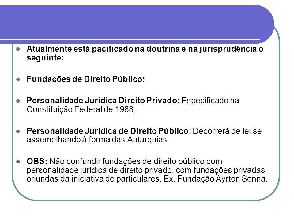 Fundações Públicas com Personalidade Jurídica de Direito Privado: Constituídas de regras de direito público e de direito privado; Regime híbrido;