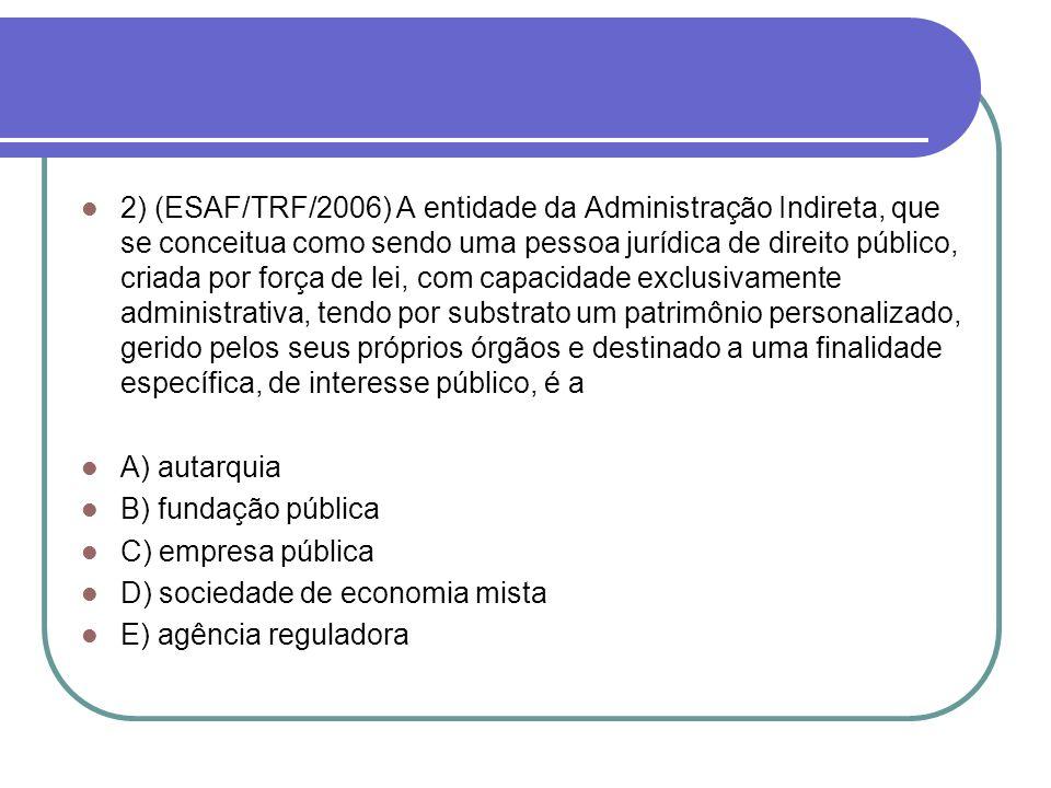 2) (ESAF/TRF/2006) A entidade da Administração Indireta, que se conceitua como sendo uma pessoa jurídica de direito público, criada por força de lei,