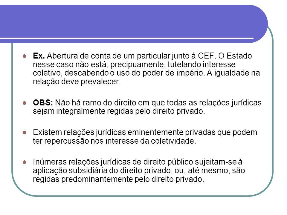 Ex. Abertura de conta de um particular junto à CEF. O Estado nesse caso não está, precipuamente, tutelando interesse coletivo, descabendo o uso do pod