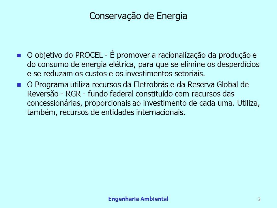 Engenharia Ambiental 3 Conservação de Energia O objetivo do PROCEL - É promover a racionalização da produção e do consumo de energia elétrica, para qu