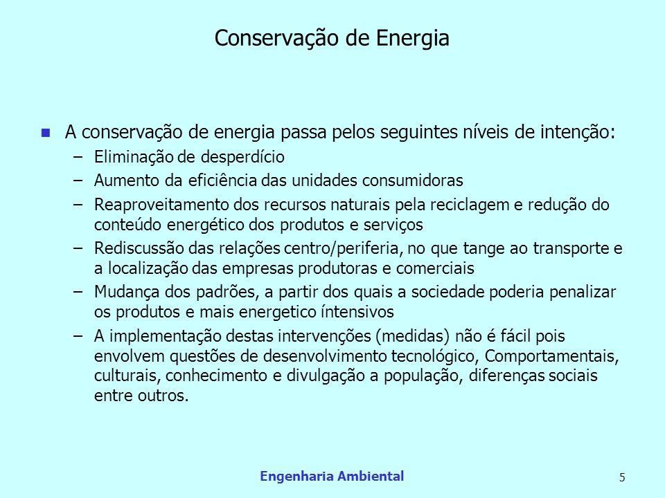 Engenharia Ambiental 5 Conservação de Energia A conservação de energia passa pelos seguintes níveis de intenção: –Eliminação de desperdício –Aumento d