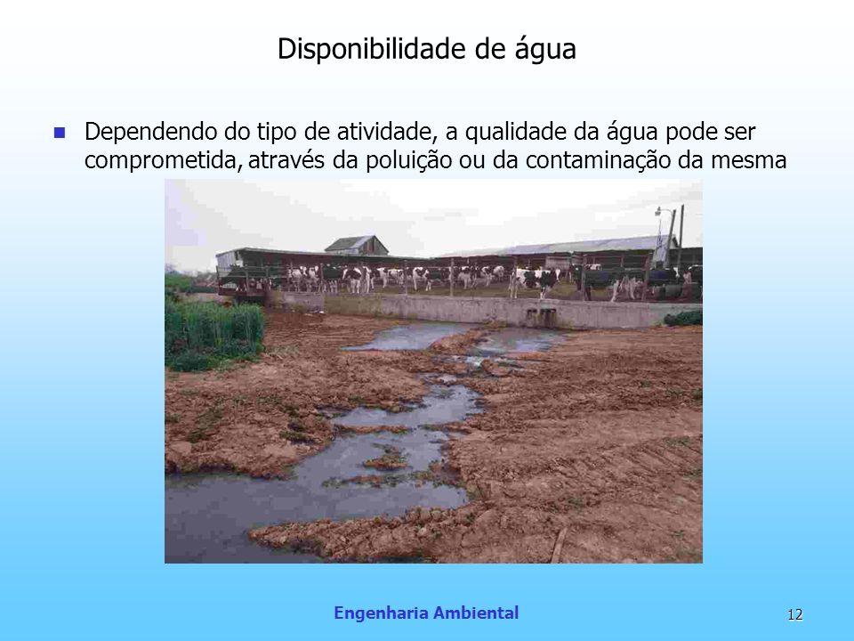 Engenharia Ambiental 12 Disponibilidade de água Dependendo do tipo de atividade, a qualidade da água pode ser comprometida, através da poluição ou da