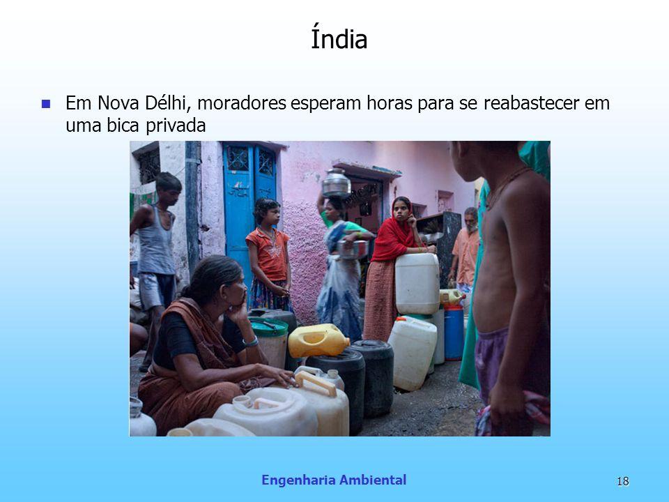 Engenharia Ambiental 18 Em Nova Délhi, moradores esperam horas para se reabastecer em uma bica privada Índia