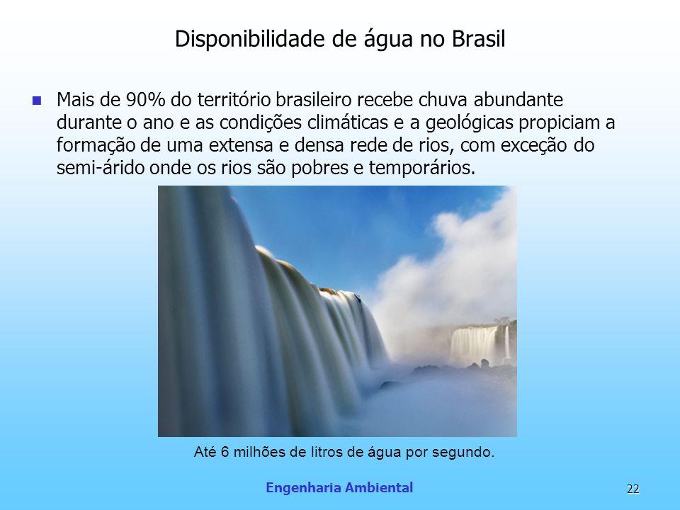 Engenharia Ambiental 22 Disponibilidade de água no Brasil Mais de 90% do território brasileiro recebe chuva abundante durante o ano e as condições cli