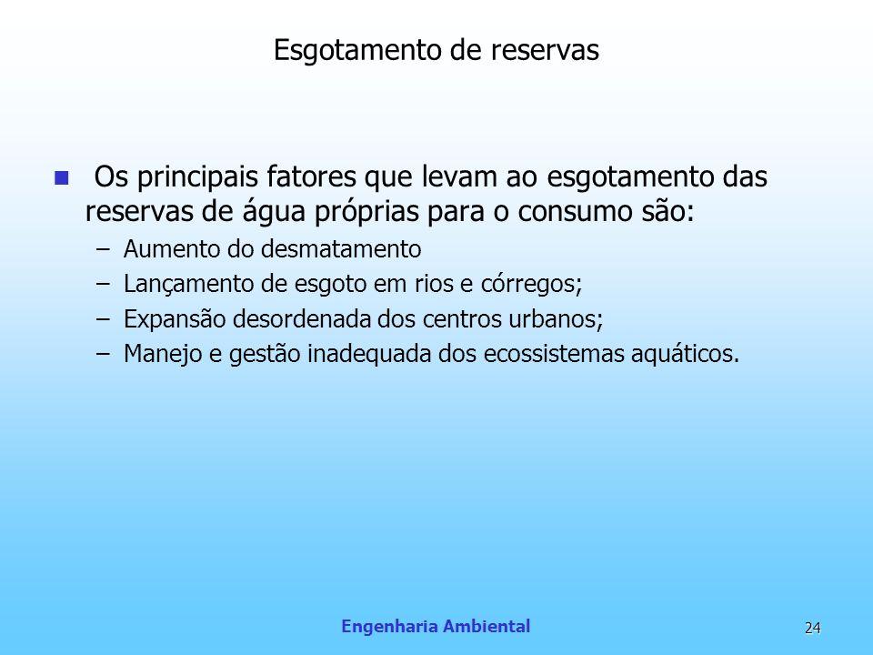 Engenharia Ambiental 24 Esgotamento de reservas Os principais fatores que levam ao esgotamento das reservas de água próprias para o consumo são: –Aume