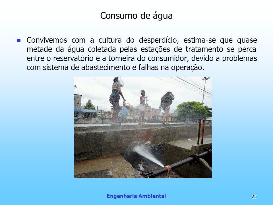 Engenharia Ambiental 25 Consumo de água Convivemos com a cultura do desperdício, estima-se que quase metade da água coletada pelas estações de tratame