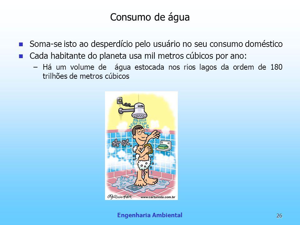 Engenharia Ambiental 26 Consumo de água Soma-se isto ao desperdício pelo usuário no seu consumo doméstico Cada habitante do planeta usa mil metros cúb